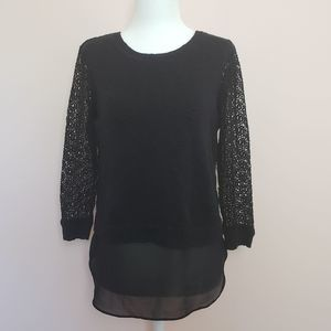 Lucky Brand Black Crochet Sleeve Sweater Size S